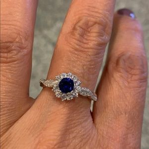 Jewelry - 4.5mm Round Blue CZ September Engagement Ring